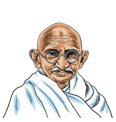 mahatma gandhi cartoon portrait drawing vector image