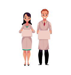 male and female doctors in medical coat holding vector image