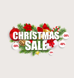 merry christmas and new year sale background vector image