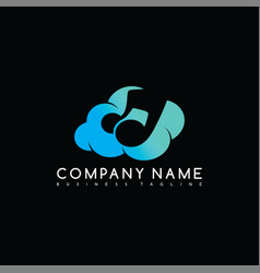 Music cloud brand company template logo logotype vector