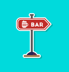 paper sticker on stylish background sign of bar vector image