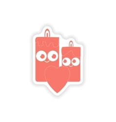 Paper sticker on white background candle heart vector