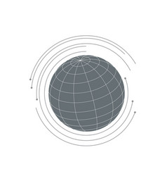 planet icon fith futuristic circles around it vector image