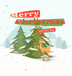 Postcard merry christmas and a happy new year vector