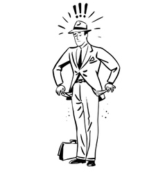 poverty money businessman with empty pockets line vector image