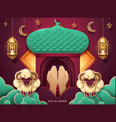 prayer hands and islamic paper mosque entrance vector image