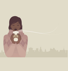 pretty girl having a coffee on a winter day city vector image
