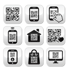 QR code on mobile or cell phone buttons set vector