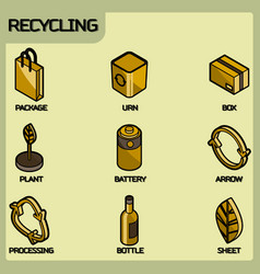 recycling color outline isometric icons vector image
