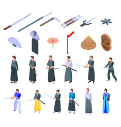 Samurai icons set isometric style vector