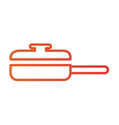 saucepan with cap frying food kitchen vector image
