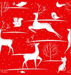 seamless christmas pattern - deers foxes birds vector image