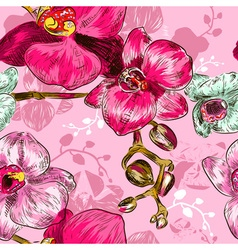 Seamless Pink Orchid Flower Pattern vector image