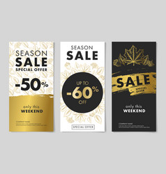 seasonal sale leaflets templates with autumn vector image