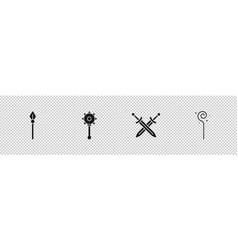 Set medieval spear chained mace ball crossed vector