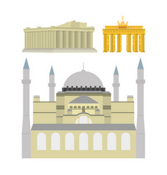 set monuments and buildings vector image