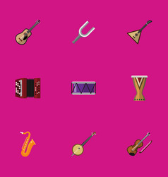 set of 9 editable audio flat icons includes vector image