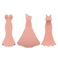 set of three evening cocktail dresses color of vector image