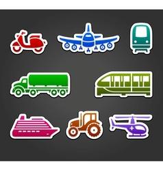 Set sticky stickers transport color symbols vector