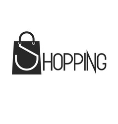 shopping bag and lettering word shopping promotion vector image