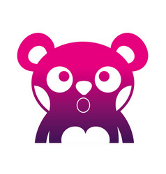 Sihouette surprised bear adorable wild animal vector