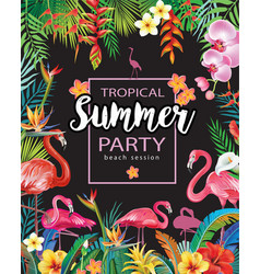 Summer party poster with flamingoes and tropical vector