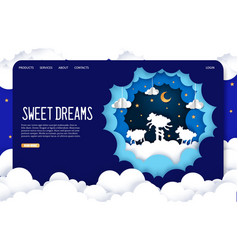 Sweet dreams website landing page design vector
