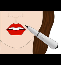 the procedure of permanent make-up of lips vector image