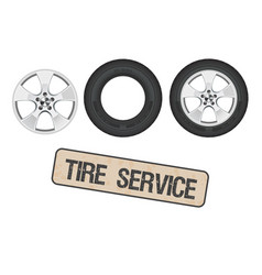 tire wheel service shop garage - flat vector image