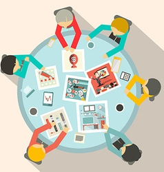 Top View Business Meeting Around Circle Table vector image