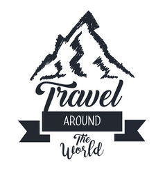 Travel around the world card with hand drawn vector