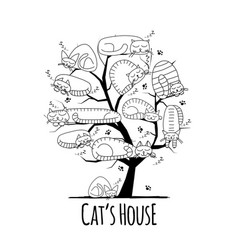 tree with sleeping cats sketch for your design vector image