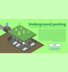 Underground parking concept banner isometric vector