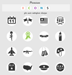 veterans day icon set vector image