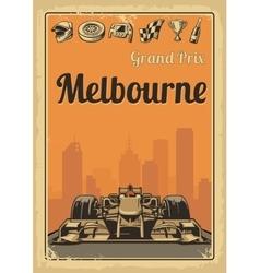 Vintage poster grand prix melbourne vector