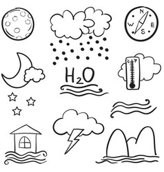 Weather set doodles vector