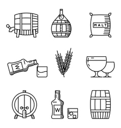 Whisky thin line icons Industry outline vector image
