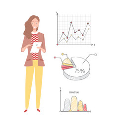 Woman working on business project with infocharts vector
