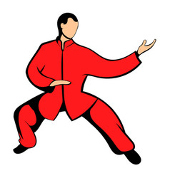 Wushu fighter icon cartoon vector