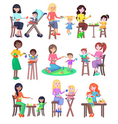 Young mothers feeding babies set kindergarten vector