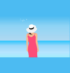 Young woman stands on background blue sea sky vector