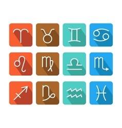 Zodiac signs icons on color background for vector image