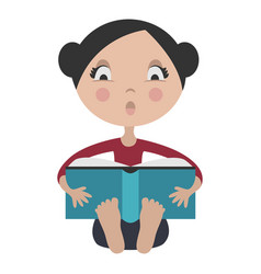 cartoon girl reading exciting book vector image vector image
