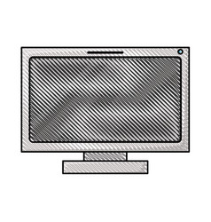 colored pencil silhouette of lcd monitor vector image vector image