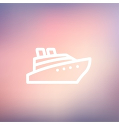 Cruise ship thin line icon vector image