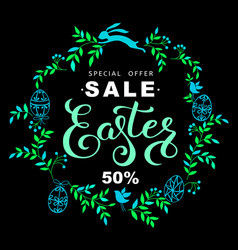 easter sale banner with wreath of blue leaves and vector image
