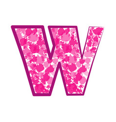 english pink letter w vector image