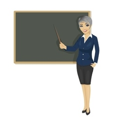female teacher with pointer next to chalkboard vector image