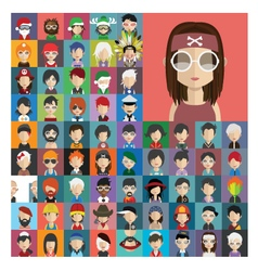 Set of people icons in flat style with faces 23 a vector image vector image