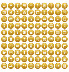 100 interior icons set gold vector image